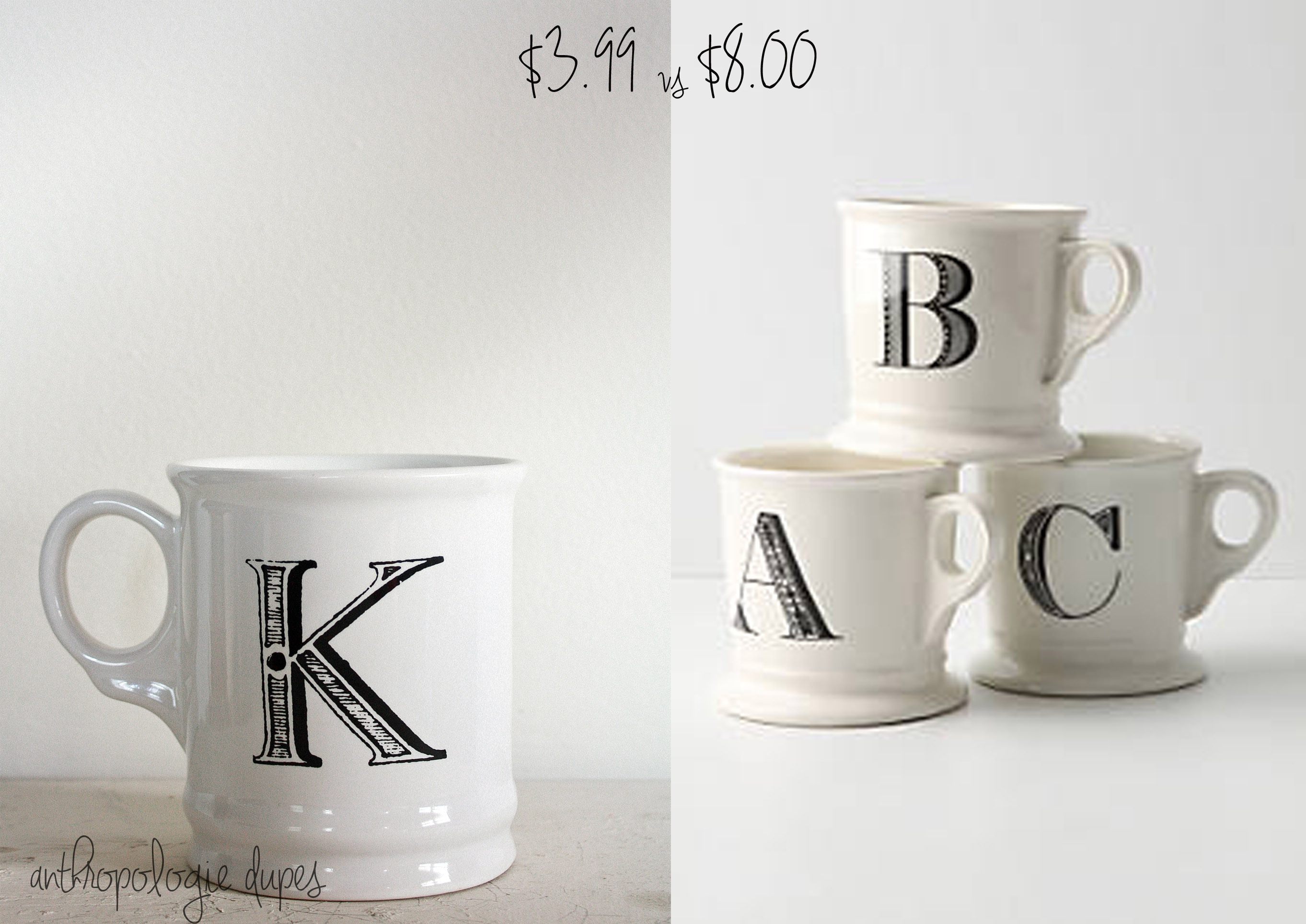 monogrammed mug letter quot k quot tea cup zazzle anthropologie look a like daily sprinkles 570