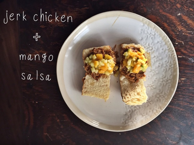 Carribbean Jerk Chicken Sliders + Mango Salsa